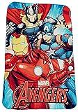 Marvel Avengers Fleecedecke mit Thor, Iron-Man und Captain America, Kinder-Kuscheldecke 100 x 150 cm, Öko Tex Standard 100