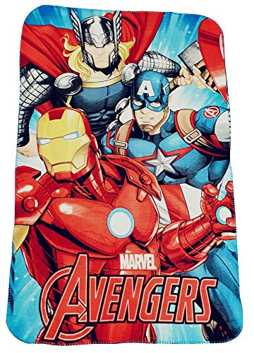 Marvel Avengers Manta polar con Thor, Iron-Man y Capitán América, manta infantil 100 x 150 cm, Öko Tex Standard 100