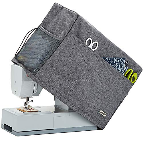 HOMEST Sewing Machine Dust Cover with Storage Pockets, Compatible with Most Standard Singer and Brother Machines, Grey (Patent Design)