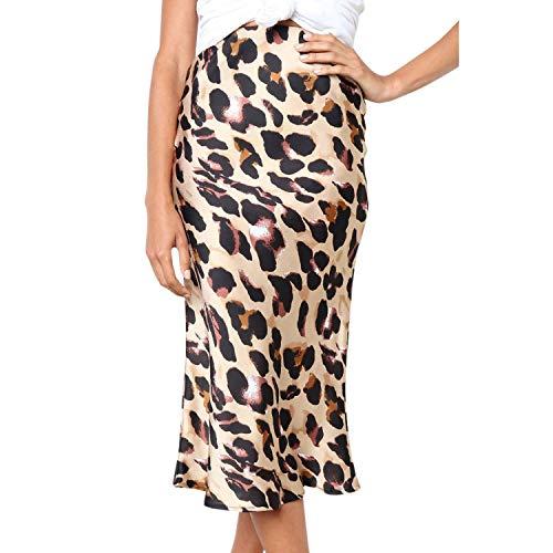 Mujeres Casual Retro Cintura Alta Leopardo Impresión Elegante Fiesta De Noche Falda Larga