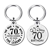 DEGASKEN Happy 70th Birthday Gift Ideas for Men, 70 Never Looked So Good, Vintage 70 Year Old Age Male Funny Keychain