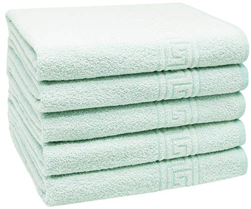 ZOLLNER Set 5 Toallas de baño, Verde, 70x140 cm, 80% algodón
