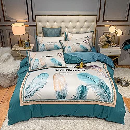 juego de funda de edredón cama matrimonio-Punto de algodón Lavado de agua Seda Gran versión de la ropa de cama de impresión Reino especial Down Set Individual cama doble de una sola almohada regalo-G