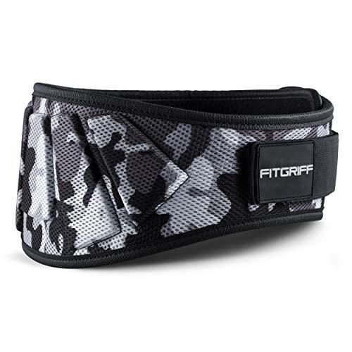 Fitgriff Cintura Palestra V1 - Cintura Sollevamento Pesi Neoprene - per Donna & Uomo - Pwerlifting, Bodybuilding, Crossfit, Squat - Camo Large
