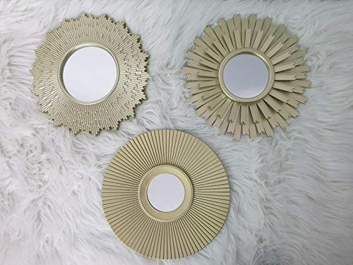 ZD Trading Spiegel Wanddeko Wandschmuck Wandbild Modern Gold Deko Dekoration 3er Set