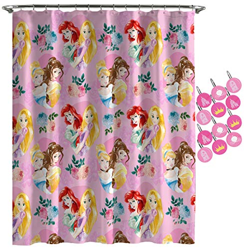 Disney Princess Sassy Shower Curtain & 12-Piece Hook Set & Easy Use - Kids Bath Set Features Belle & Cinderella (Official Disney Princess Product)