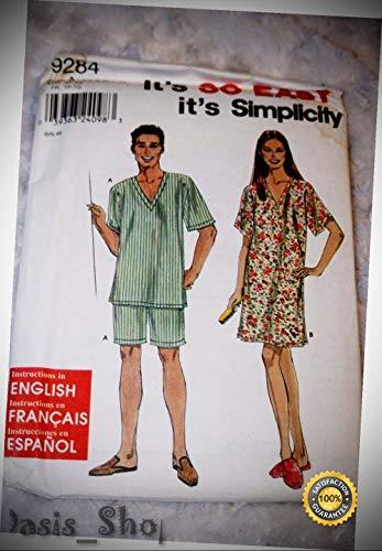 Uncut Simplicity 9284 Sewing Pattern Pajama Nightgown Pants Shorts Shirt XS-XL - Ribbon Lyrical Dance Costumes, Sashes, Headbands