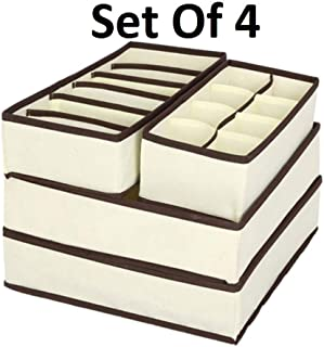 SKYFUN (LABEL) Set of 4 Foldable Storage Box Drawer Divider Organizer Closet Storage for Socks Bra Tie Scarves-Beige