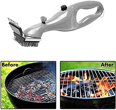 Outdoor Stainless Steel BBQ Brush Grill Cleaner with Steam Power Grill Accessories Cooking Cleaning Tools Brush Grill (White, One size)