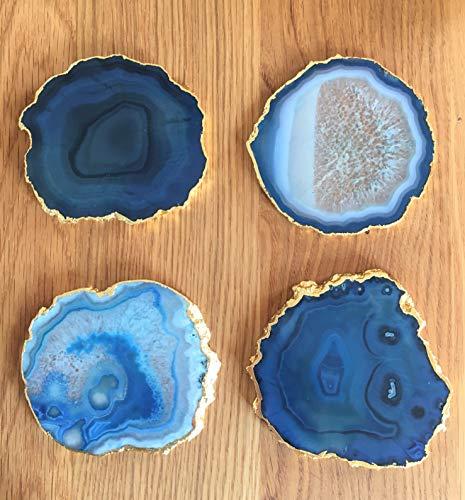 Discos de ágata auténticos posavasos, decoración de mesa, 80-110 mm, color azul turquesa con borde dorado (4 unidades)