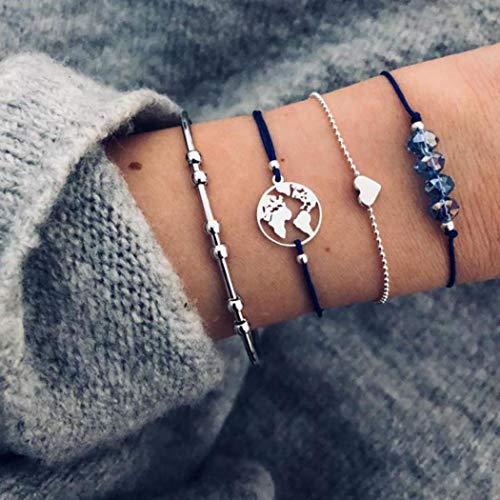 Yean Boho - Pulsera con capas de alambre abierto, pulsera de plata con diseño de mapa con cuentas, cadena de mano ajustable, joyería para mujeres y niñas, paquete de 4