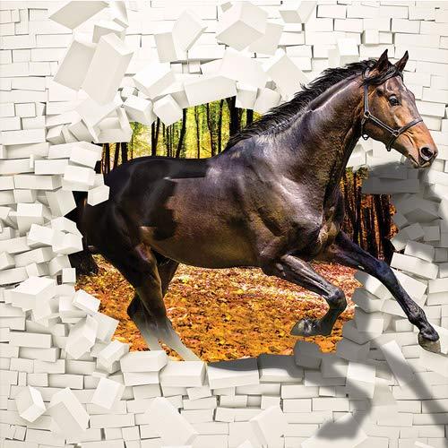 FORWALL Fototapete Vlies - Tapete Moderne Wanddeko Pferd kommt aus der Wand 3D VEXXL (312cm. x 219cm.) AMF3138VEXXL Wandtapete Design Tapete Wohnzimmer Schlafzimmer
