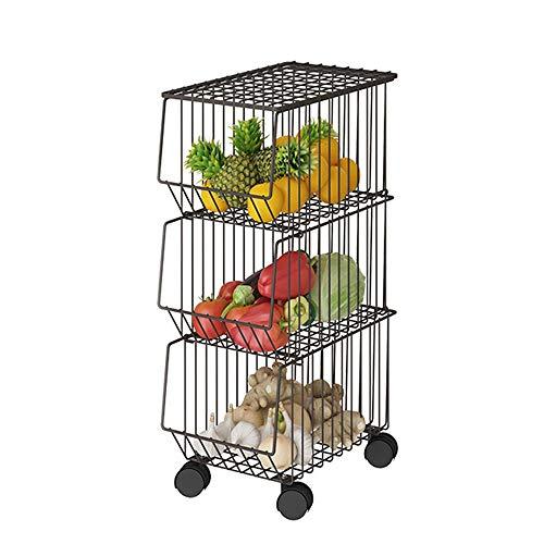 ZoSiP Chariot de Service Chariot Multifonctionnel Métal Panier en Fil métallique avec Roues et Couverture, 3 Tier superposable Roulant Fruit Basket Utilitaire Rack, Stockage Organisateur Bin