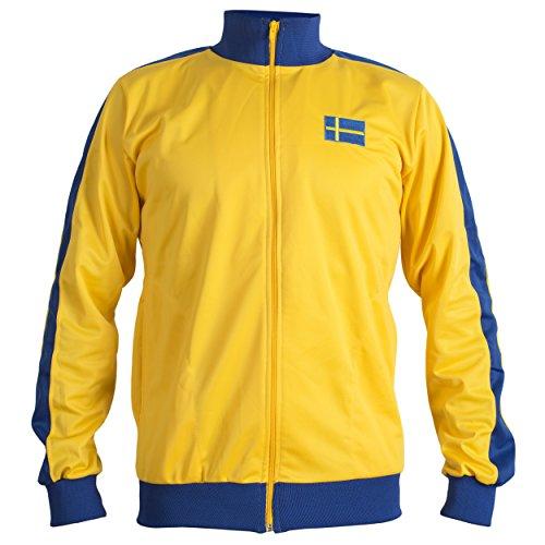 JL Sport Schweden Sverige 1970 Retro Nationale Swedese Fußballjacke Anzug - XL