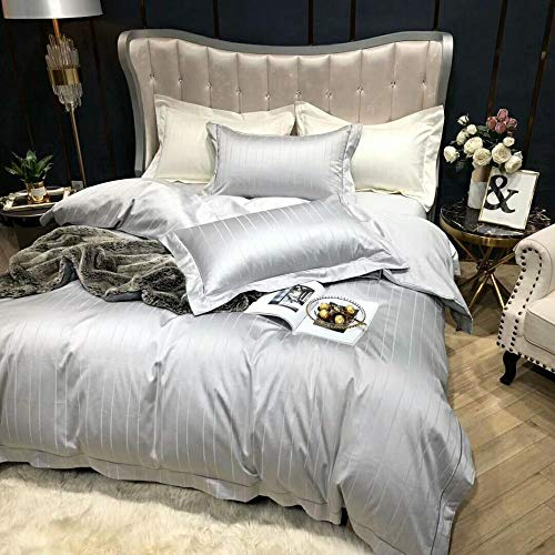 High-end luxe bed 4-delige set Hotel Business Style dubbele streng eiland katoen eenkleurig Jacquard exquisiet geborduurde lakens dekbedovertrek 2 kussensloop zilvergrijs_220 x 240 cm, 245 x 270 cm, 48 x 74 cm