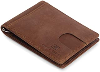 Mens Wallet Genuine Leather Slim Money Clip RFID Blocking Men's Card Holder (Rust)
