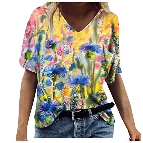 Fashion Women's T-Shirt Vintage Watercolor Flower Print Short Sleeve Tunics Loose V-Neck Comfort Tops Blouse Yellow