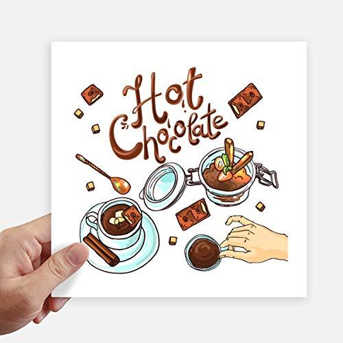 DIYthinker Hot Chocolade Desserts drinken Frankrijk Square Stickers 20 Cm muur koffer Laptop Motobike Decal 4 Stks