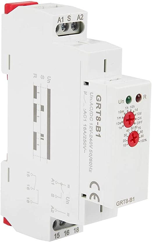 GRT8-A2 Single Function Control Din Rail Time Relay Power on//off Delay Timer xi