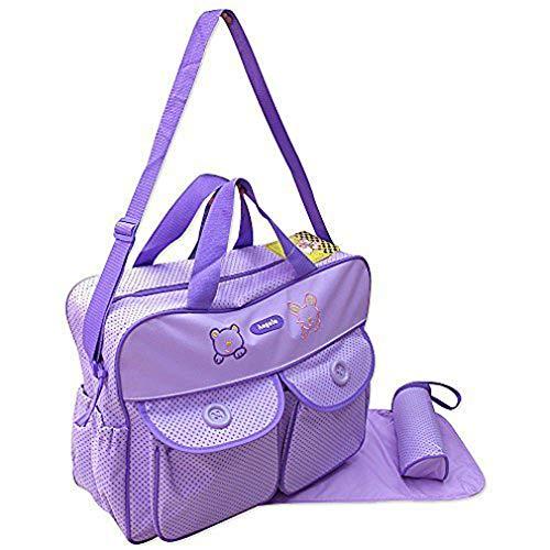 XXL 3 tlg Baby Farbe lila Wickeltasche Pflegetasche Windeltasche Babytasche Reise Farbauswahl