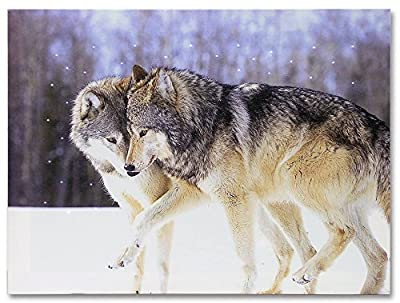 Kissing Wolves LED Lighted Canvas Print Home Decor - Frolicking Grey Wolves Nuzzling in a Snowy Winter Forest Scene - 16x12 Inch