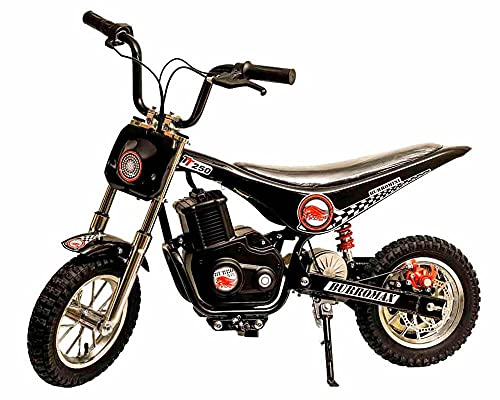 Burromax Black TT250 Electric Motorcycle Dirt Bike for Kids | Fast and Long Lasting 24V 250W Charge | Ride On Mini Pocket Bike for Street & Off Road