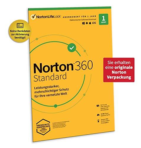 Norton 360 Standard 2020 | 1 Gerät | Antivirus | Unlimited Secure VPN & Passwort-Manager |1 Jahr | PC, Mac oder Mobilgerät | Aktivierungscode in Originalverpackung