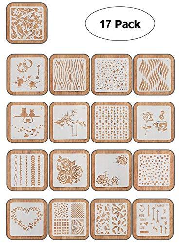 Ai-life 17 piezas plástico dibujo pintura Stencil escala gráficos plantilla para diario gráfica plantillas DIY álbum de fotos Cuaderno Diario de Recortes y manualidades, 13x13cm