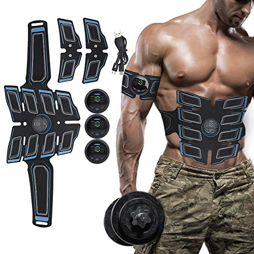 BELLY MUSCLE TRAINER ELECTRICAL: estimulador muscular EMS con 15 niveles de fuerza, dispositivo de entrenamiento EMS para hombres mujeres, entrenador muscular abdominal para pierna abdominal(AZUL)