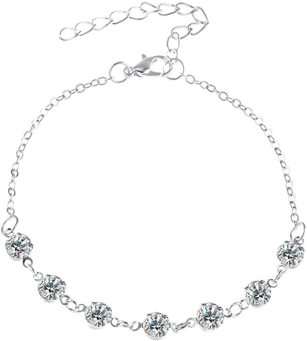 SHANZEH Silver Philadelphia Mall Studded NEW before selling ☆ Anklets for Women Girls. Zirconi Teen and