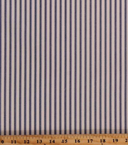 Fields Fabrics Ticking Stripe Blue on Natural 54' Wide Home Decorator Yarn-Dyed Cotton Duck Fabric Print by The Yard (D272.07)