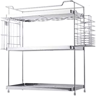 Jiahuijuan Support Simple, Double étagère en métal pour la Cuisine, Argent, 45 * 19 * 42cm