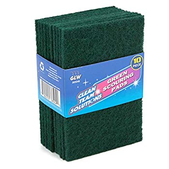 Clean Team Solutions  10 Pack  Green Scouring Pads For Dishes Scrub Pad Scouring Sponges Kitchen Cleaning Supplies