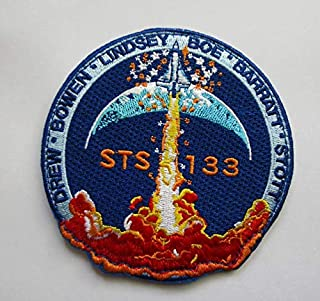Big STS 133 NASA Space Mission Military Patch Fabric Embroidered Badges Patch Tactical Stickers for Clothes with Hook & Loop