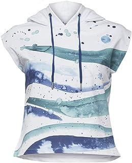 بيج ديزاين Anemoss Wave نمط هوديي تانك ، بدون أكمام ، ملابس نسائية ، ملابس رياضية ، قماش ناعم