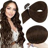 Hetto U Tip Hot Fushion Hair Extensions 20 Pulgada Silky Straight Nail Tip Human Hair Extensions Color 4 Dark Brown Pre-Bonded Queratina Nail Tip Hair Extensions 1g/Hebra 50g/Paquete