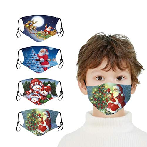 ApePal Kids Christmas Santa Cartoon Print Washable Cloth Face Mask Reusable Dust Protective Adjustable Protective Fabric Face Cover,Different Printing Style 4pcs
