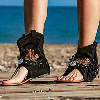 Women's Fashion Fringed Sandals, Suede Fringed High Heel Comfy Barefoot Flat Peep Toe Summer Sandals,B,35