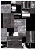 Just - Alfombra moderna para salón y ambientes clásicos y modernos, color negro antracita (140 x 190 cm, H092A)