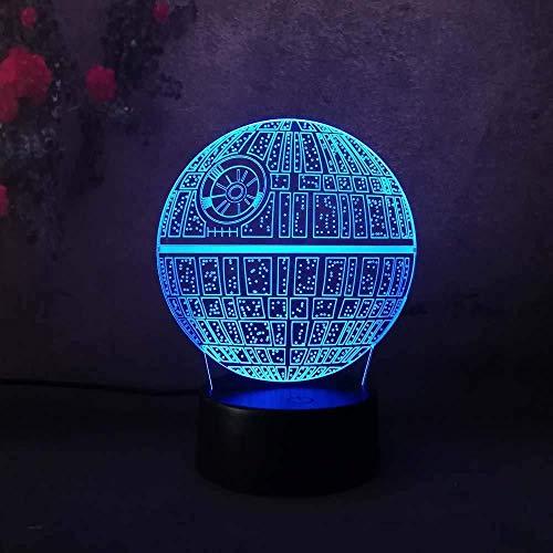 2018 Star Wars Death Star 3D-nachtlampje, ledverlichting, 7 kleurconversie, acryl board, USB-oplading, kerstcadeau, kindergeschenk, wooncultuur, slaapkamer, werkbank, schr