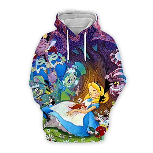 Zxl-wy Alice im Wunderland 3D gedruckt Anime Pullover Cosplay Hoodie (Color : Blue, Size : XX-Large)
