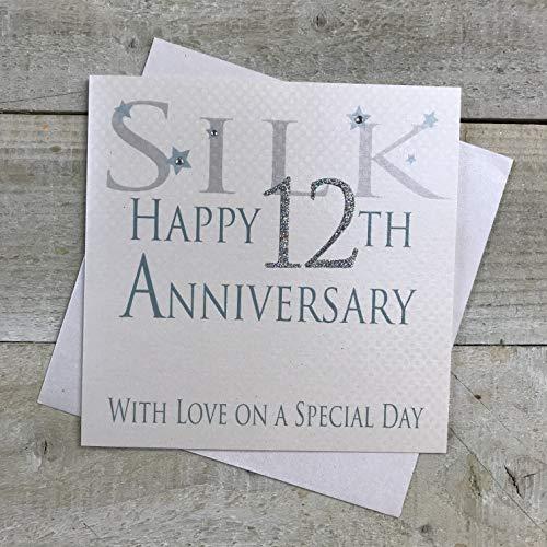 witte katoenen kaarten Staal Gelukkig 11e Liefde Op Een Speciale Dag, Handgemaakte Verjaardagskaart (Code AW11)