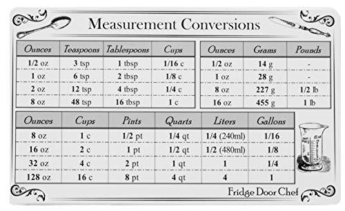 Imán de conversión de medición de cocina – más imán de receta adicional de nevera puerta chef