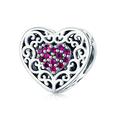 925 Sterling Silver Pink Heart Pendant Charm Bead