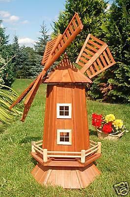 Deko-Shop-Hannusch Garten-Windmühle aus Holz – Höhe 1,15 Meter mit Solarbeleuchtung