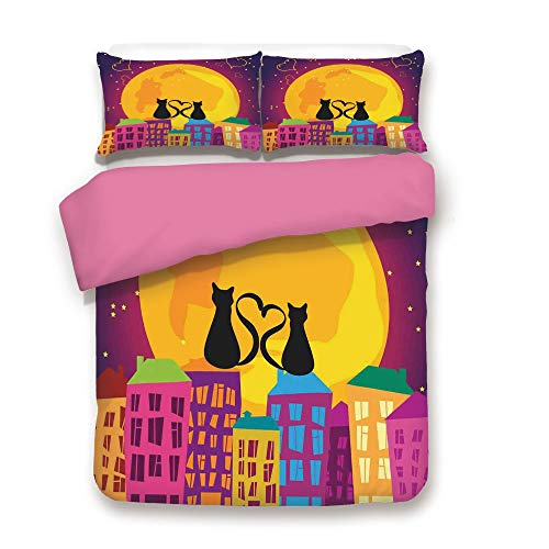 Animal Duvet Cover Set Cats on the Roof with Heart Shaped Tales Watching the Moon Light at Night in Town Bedding Set with 2 Pillow case Twin,Best Gift For Girls Mom Girlfriend Daughter Purple Orange