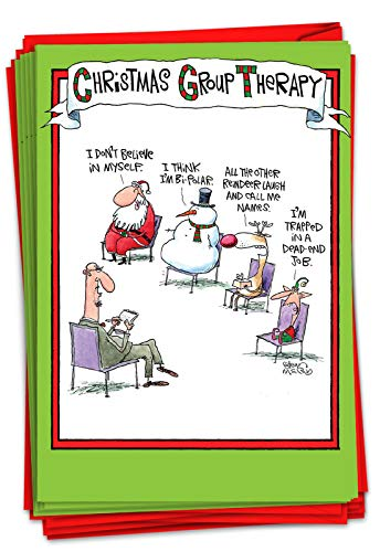 NobleWorks - 12 Boxed Merry Christmas Cards Bulk - Funny Cartoon Happy Holiday Stationery, Hilarious Notecard Set (1 Design, 12 Cards) - Group Therapy B5799