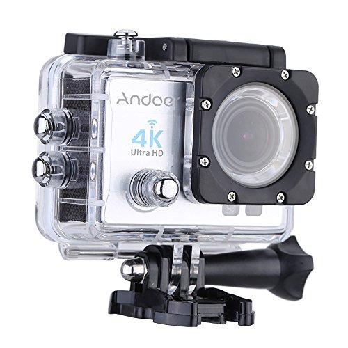 Andoer 2, Ultra HD 4 k 15FPS 1080P 60FPS WiFi Cam FPV Video MP Azione videocamera: Obiettivo grandangolare 170° Immersione con Custodia Impermeabile, 30 m