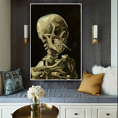 Schedel op canvas geschilderd olieverfschilderij poster en woonkamer afbeelding op drukwand