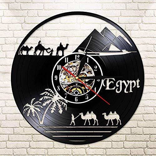 BFMBCHDJ Ägypten World African Animals Camel Die Pyramide in Sahara Desert Landscapes Wanduhr CD Black Vinyl Record Clock Mit LED 12 Zoll